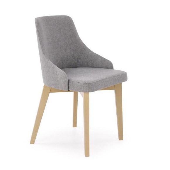 Трапезен стол с крака в цвят дъб сонома и сива дамаска