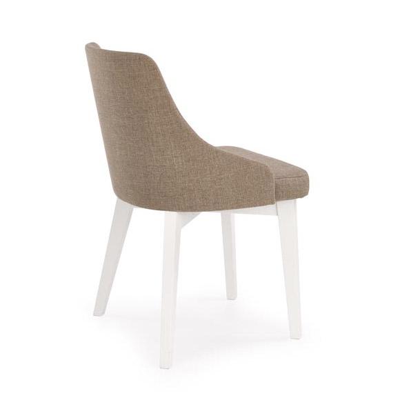 Трапезен стол с бели крака и кафява дамаска-снимка отзад