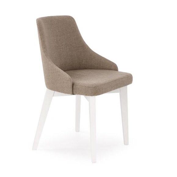 Трапезен стол с бели крака и кафява дамаска