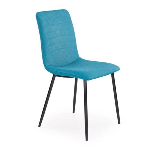 Трапезен стол с дамаска в цвят тюркоаз и черни метални крака