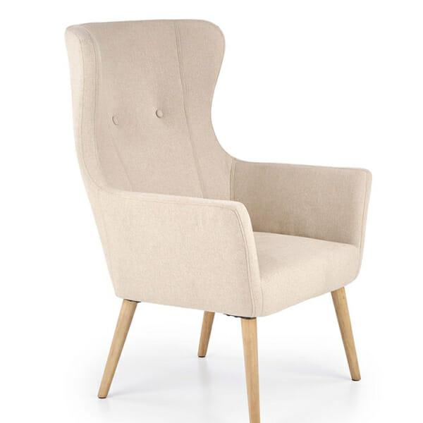 Бежово класическо кресло с дамаска и дървени крака