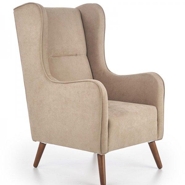 Бежово кресло с класически дизайн и дървени крака