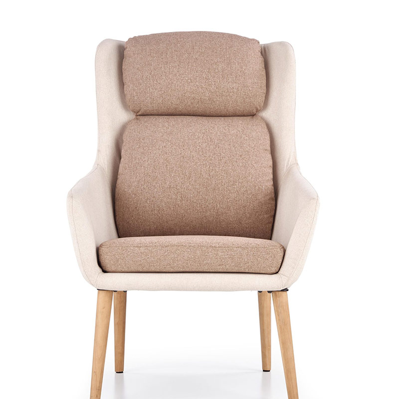 Бежово модерно кресло с висока облегалка и кафеви възглавници-снимка отпред