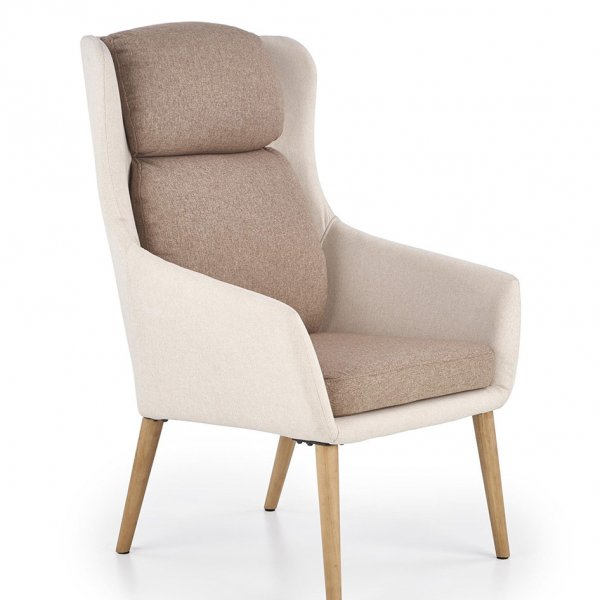 Бежово модерно кресло с висока облегалка и кафеви възглавници