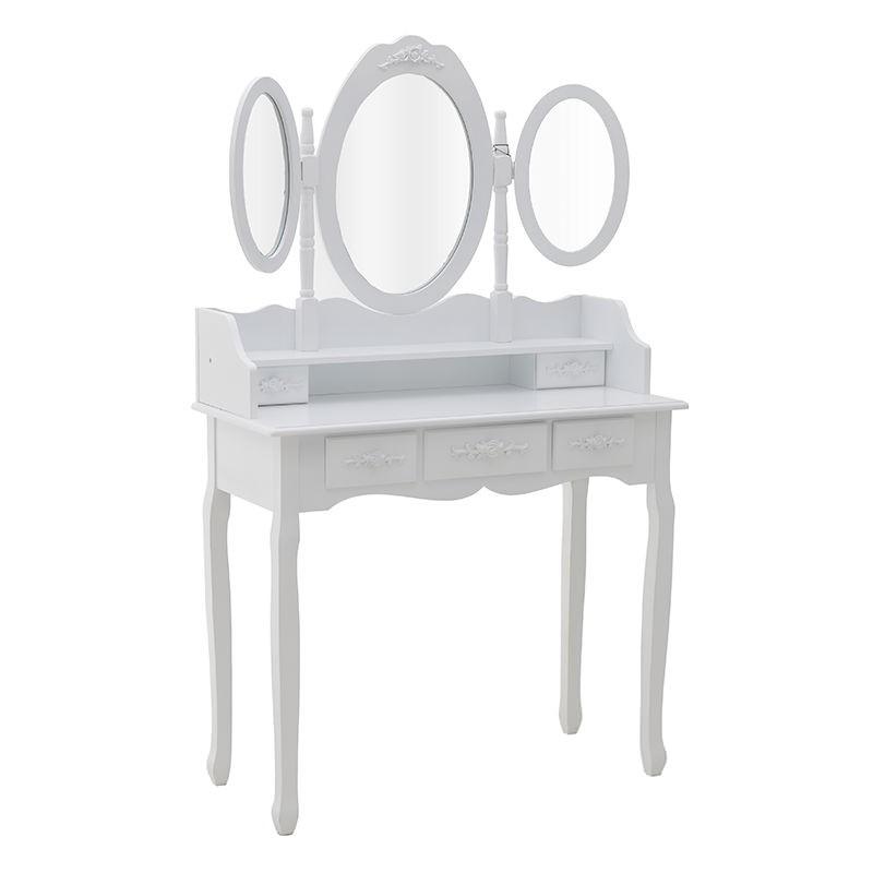 Бяла тоалетка с трикрилно огледало