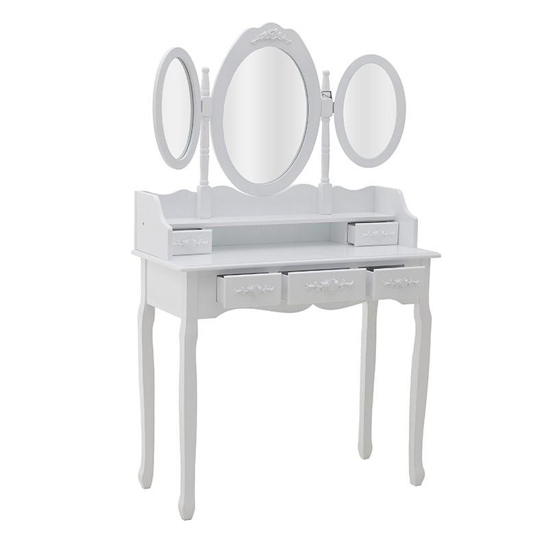 Бяла тоалетка с трикрилно огледало - отворена