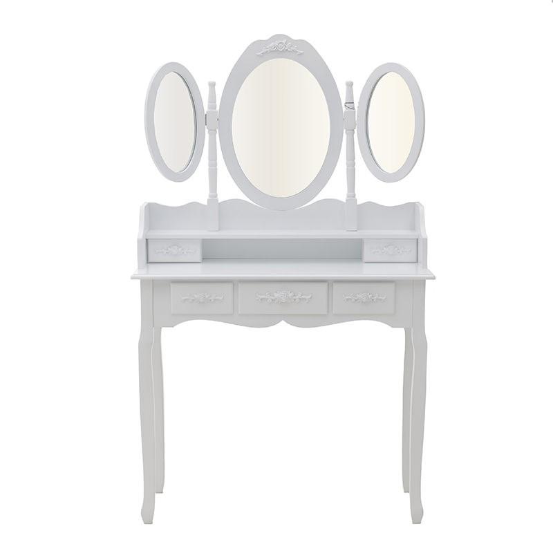 Бяла тоалетка с трикрилно огледало - отпред