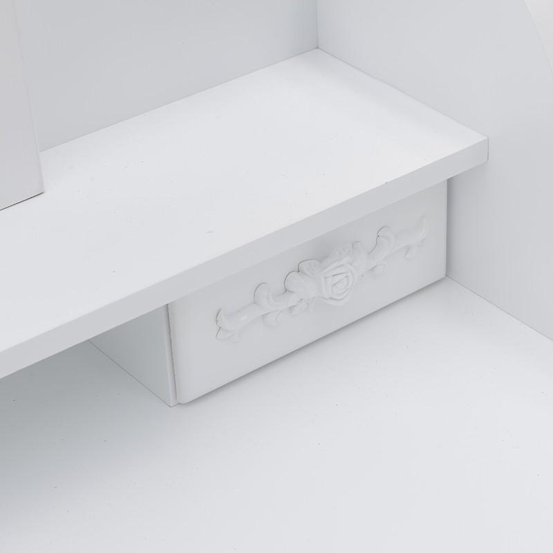 Бяла тоалетка с трикрилно огледало - отблизо