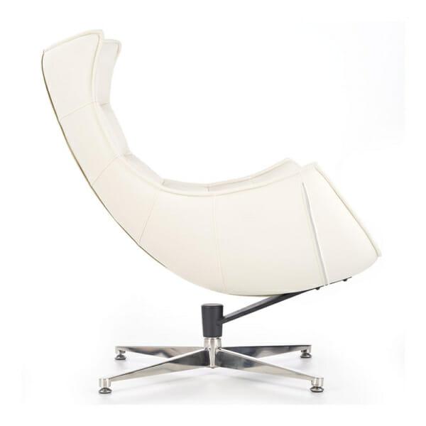 Бяло кожено кресло с яйцевидна форма-снимка отстрани