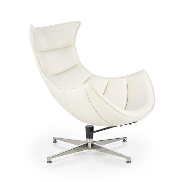 Бяло кожено кресло с яйцевидна форма
