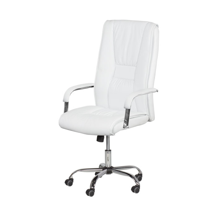 Бял директорски офис стол от еко кожа (7 цвята)