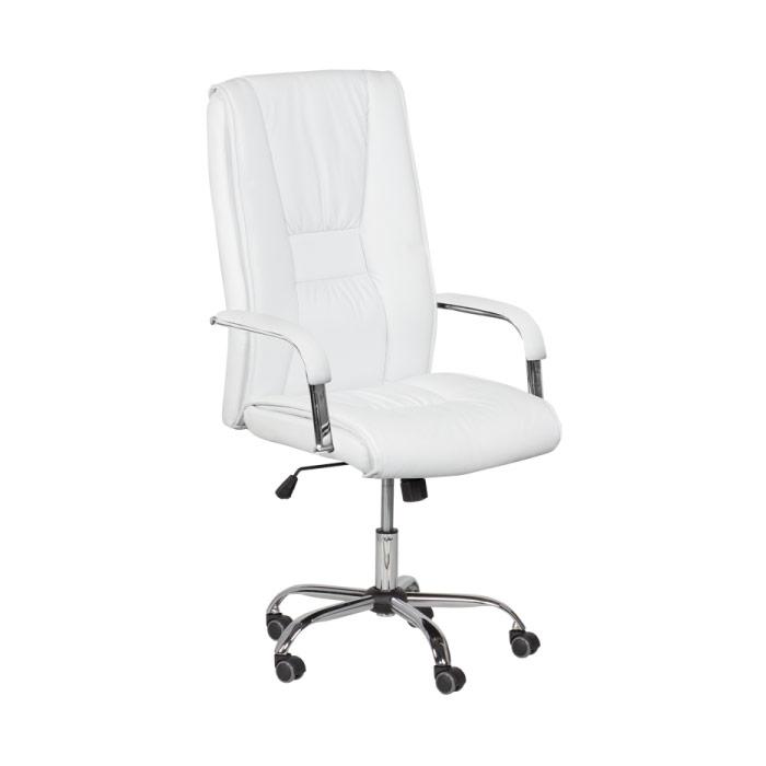 Бял директорски офис стол от еко кожа