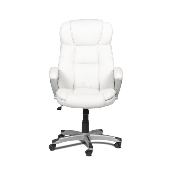 Бял кожен директорски стол с висока облегалка-снимка отпред