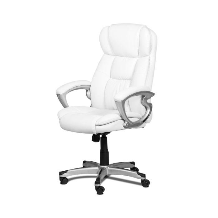 Бял кожен директорски стол с висока облегалка-снимка отстрани