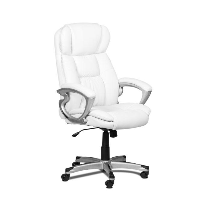 Бял кожен директорски стол с висока облегалка