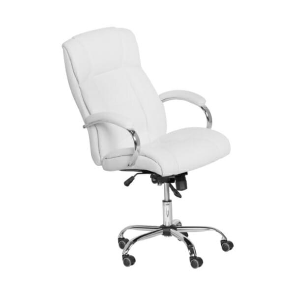 Бял кожен президентски офис стол