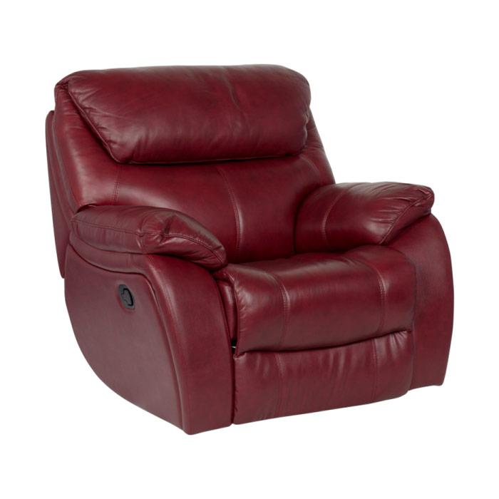 Въртящ се кожен фотьойл с люлеещ механизъм-цвят вишна
