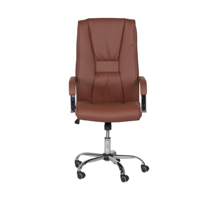Директорски офис стол от еко кожа-цвят клей-снимка отпред