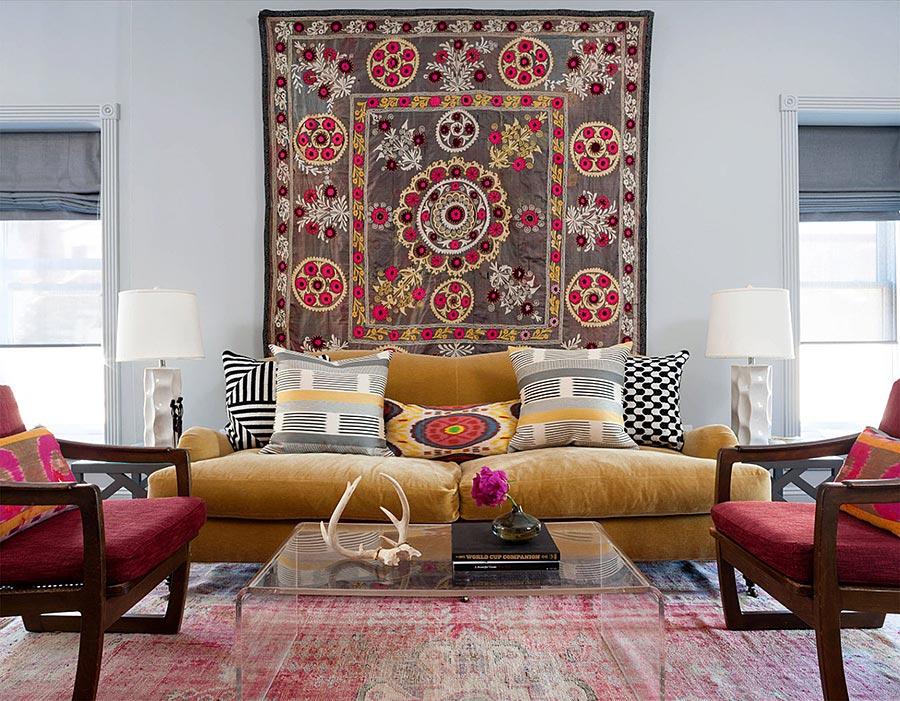 Идеи за нетрадиционна декорация за стена - килим на стената