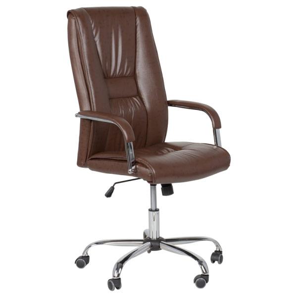 Кафяв директорски офис стол от еко кожа