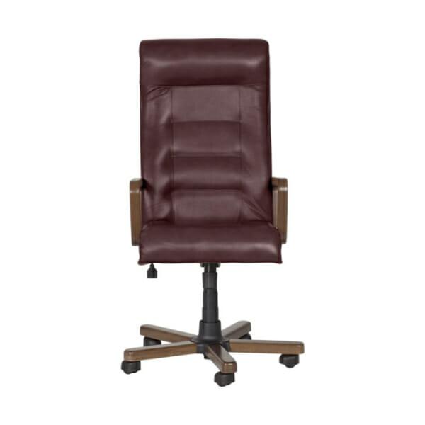 Класически президентски офис стол с висока облегалка - цвят бордо-отпред