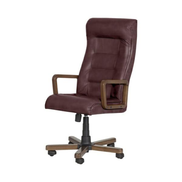 Класически президентски офис стол с висока облегалка - цвят бордо-странично