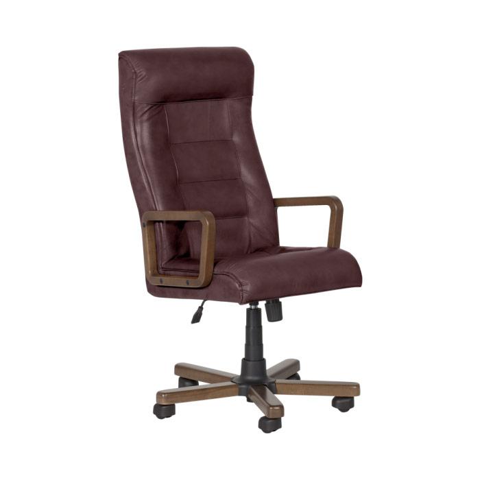Класически президентски офис стол с висока облегалка - цвят бордо