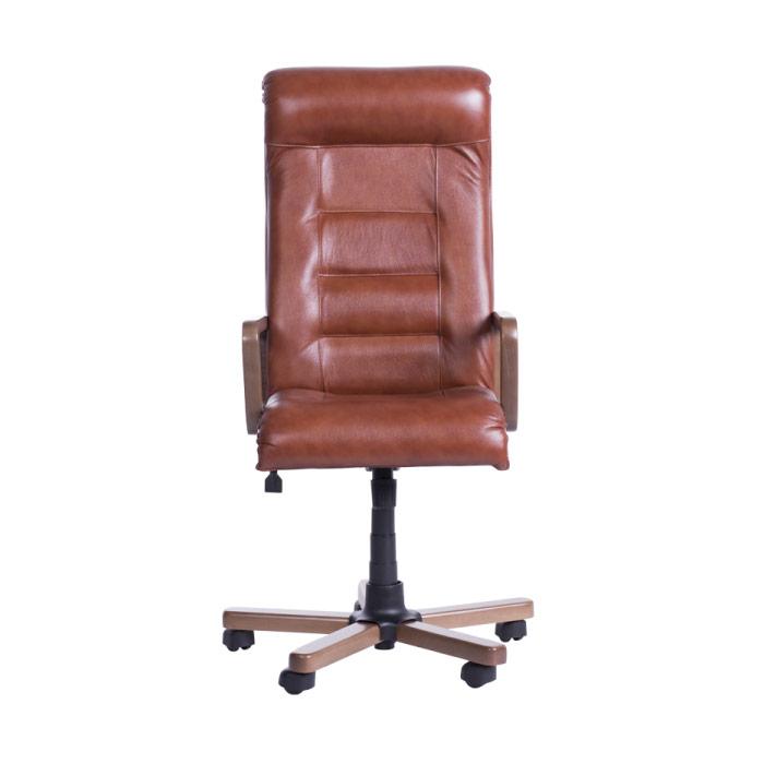 Класически президентски офис стол с висока облегалка - цвят мед-отпред