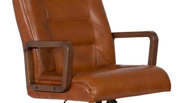 Класически президентски офис стол с висока облегалка - цвят мед-подлакътник