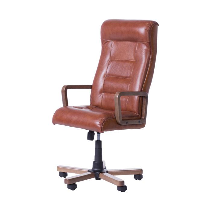 Класически президентски офис стол с висока облегалка - цвят мед-странично