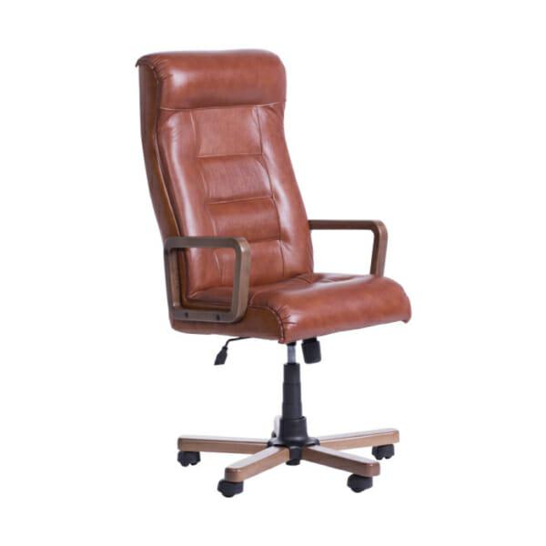 Класически президентски офис стол с висока облегалка - цвят мед