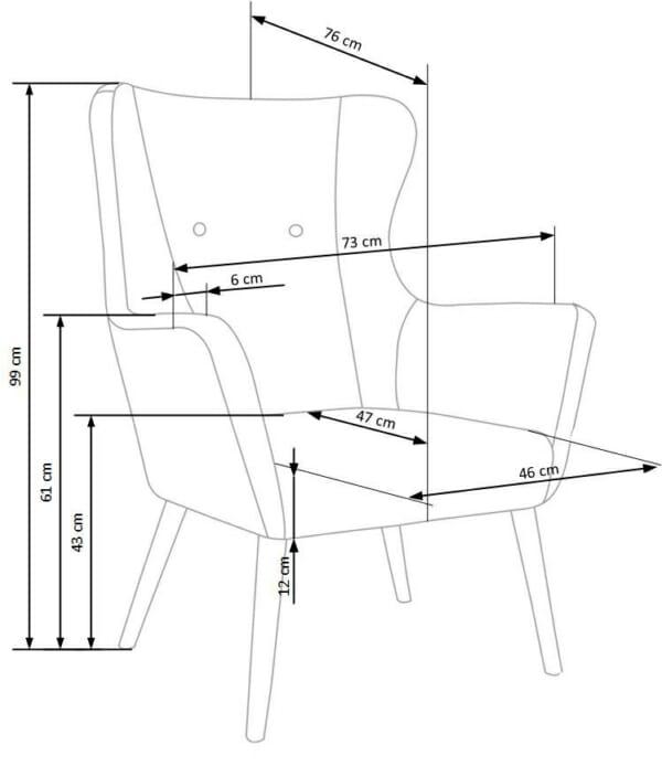 Класическо кресло с дамаска и дървени крака-размери