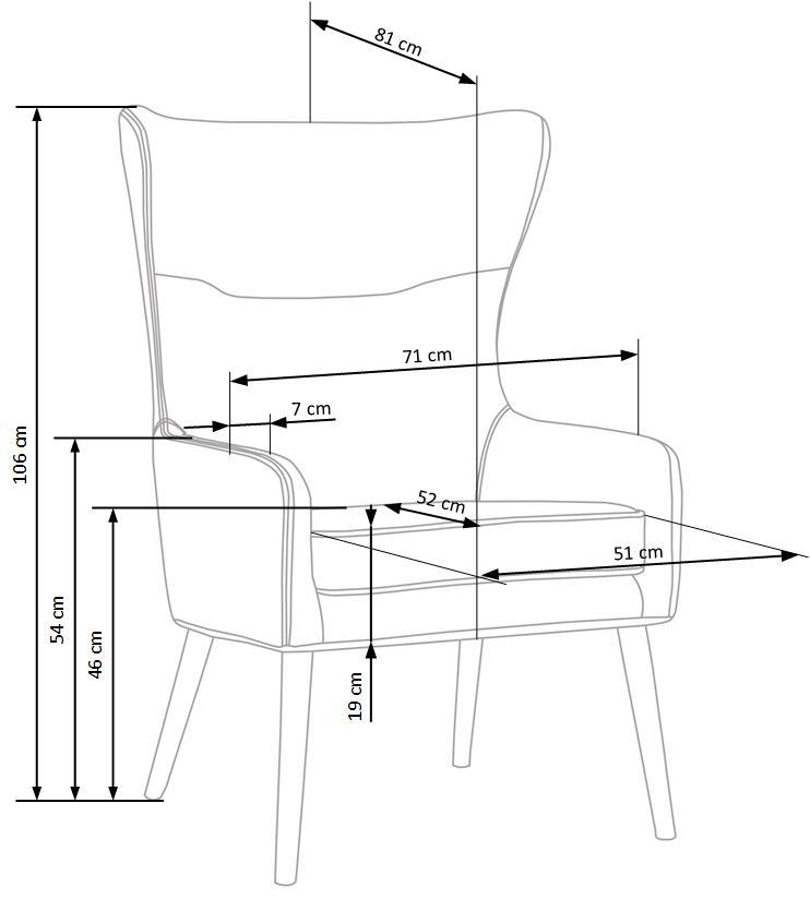 Кожено кресло с висока облегалка Едуард-размери