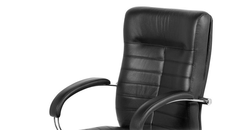 Луксозен кожен посетителски стол-облегалка