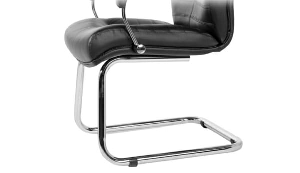 Луксозен кожен посетителски стол с висока облегалка-основа