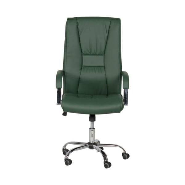 Масленозелен директорски офис стол от еко кожа-снимка отпред