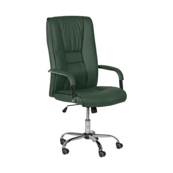 Масленозелен директорски офис стол от еко кожа