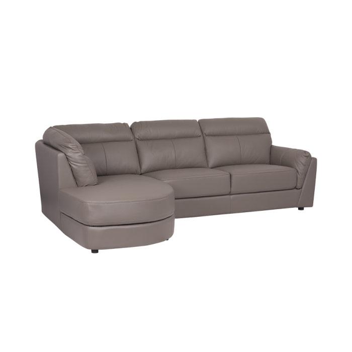 Модерен ъглов диван от естествена кожа - сив цвят