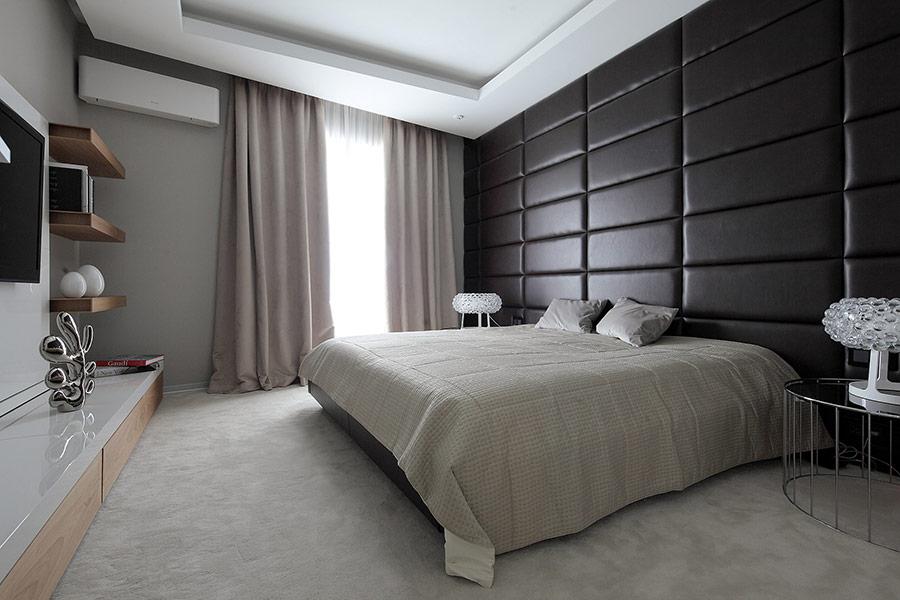 Нетрадиционни идеи за декорация на стена-кожа на стената в спалнята