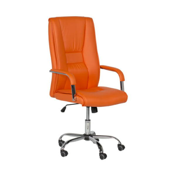 Оранжев директорски офис стол от еко кожа