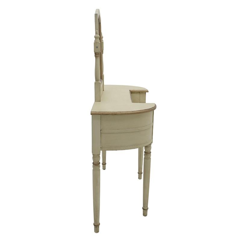 Ретро тоалетка с огледало в бежов цвят - отстрани