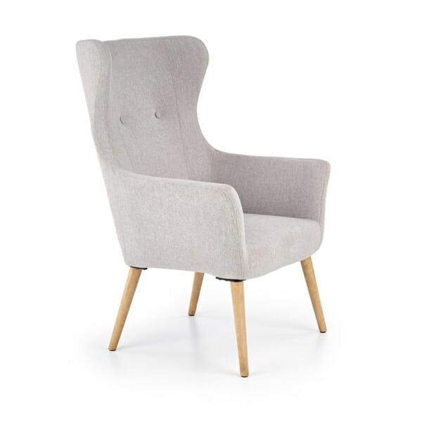 Светлосиво класическо кресло с дамаска и дървени крака