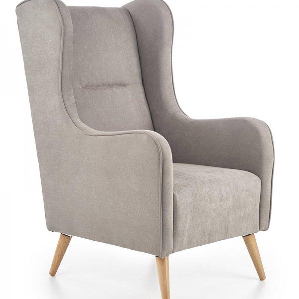 Светлосиво кресло с класически дизайн и дървени крака