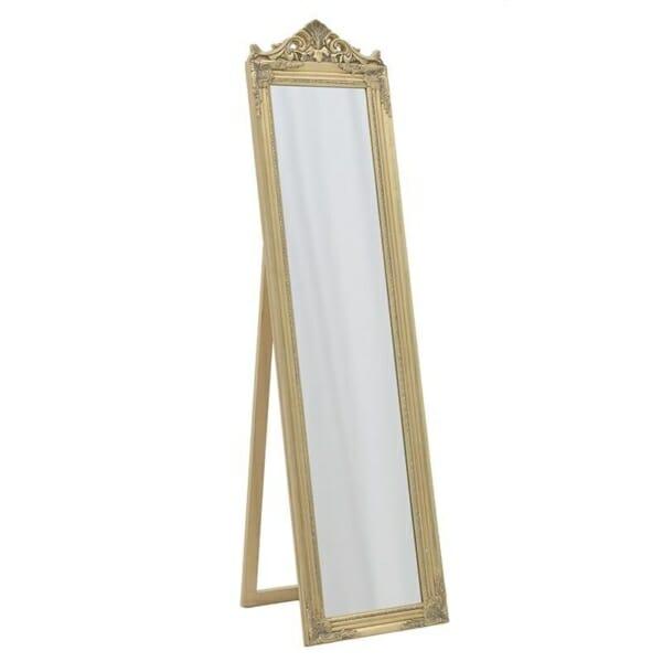 Свободностоящо огледало с класическа визия в златисто