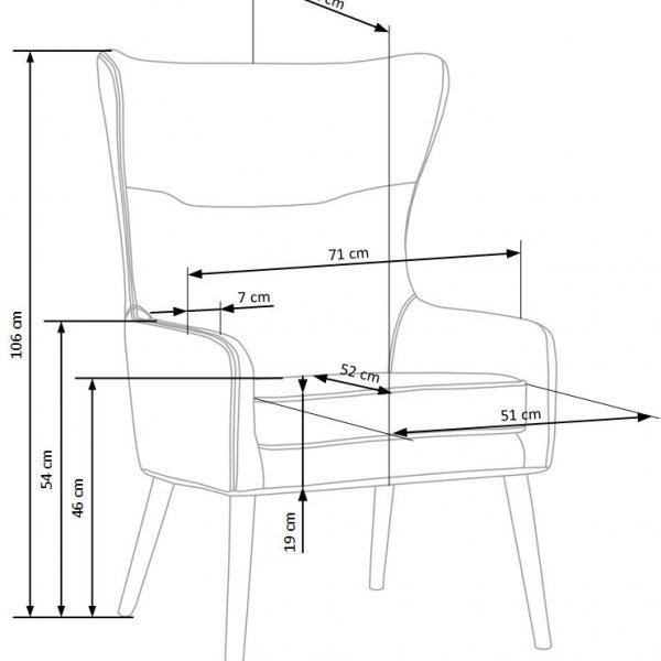 Сиво кресло с висока облегалка и възглавница Франклин-размери