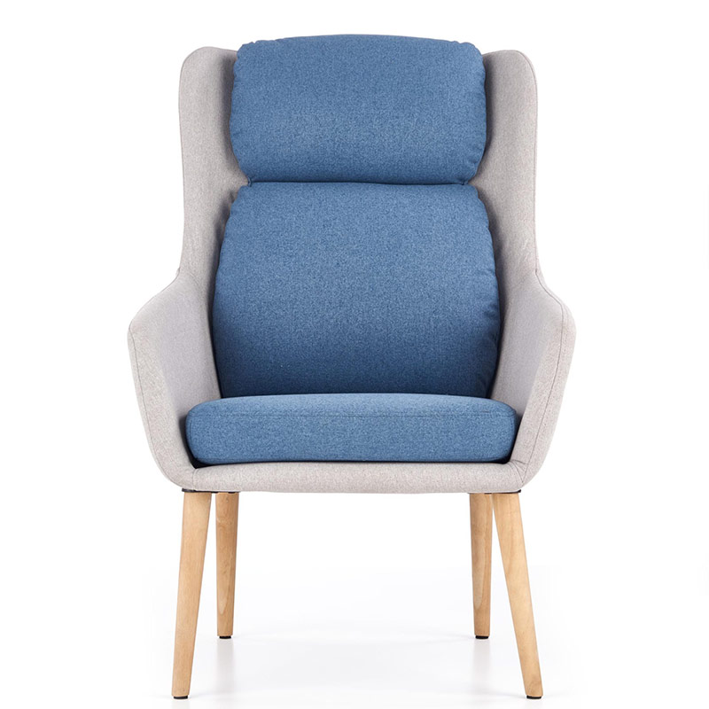 Сиво модерно кресло с висока облегалка и сини възглавници-снимка отпред