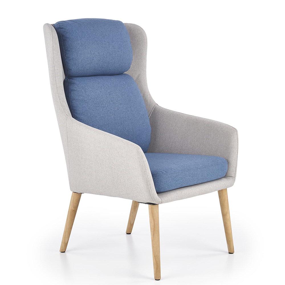 Сиво модерно кресло с висока облегалка и сини възглавници