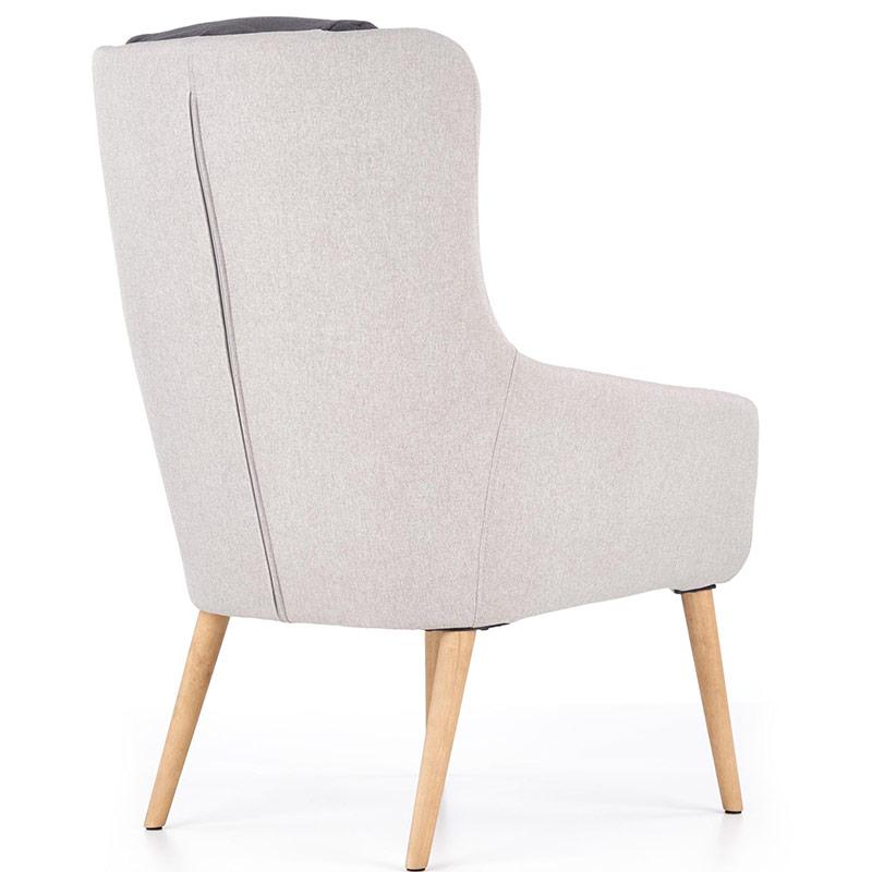 Сиво модерно кресло с висока облегалка и тъмни възглавници-снимка отзад