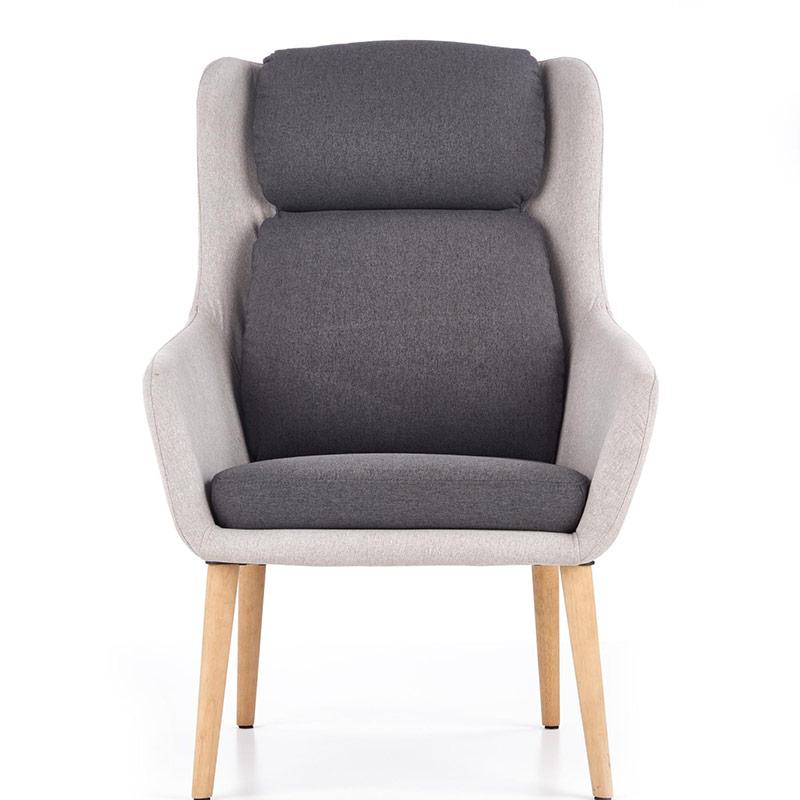 Сиво модерно кресло с висока облегалка и тъмни възглавници-снимка отпред