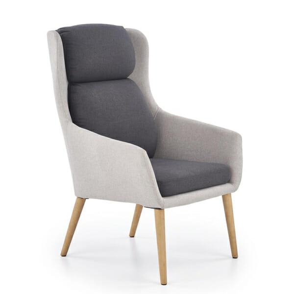Сиво модерно кресло с висока облегалка и тъмни възглавници